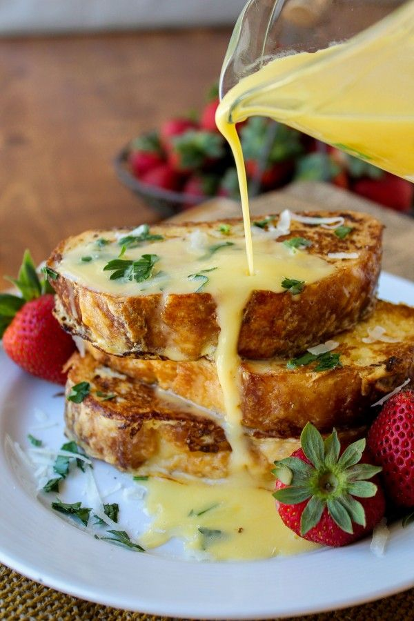Savory Parmesan French Toast with Hollandaise Sauce - The Food Charlatan