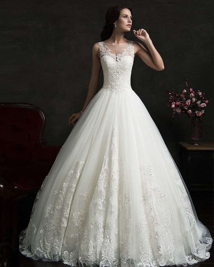 White Ivory Ball Gown Wedding Dresses Lace Bridal Dress Custom Made Size 2-26W