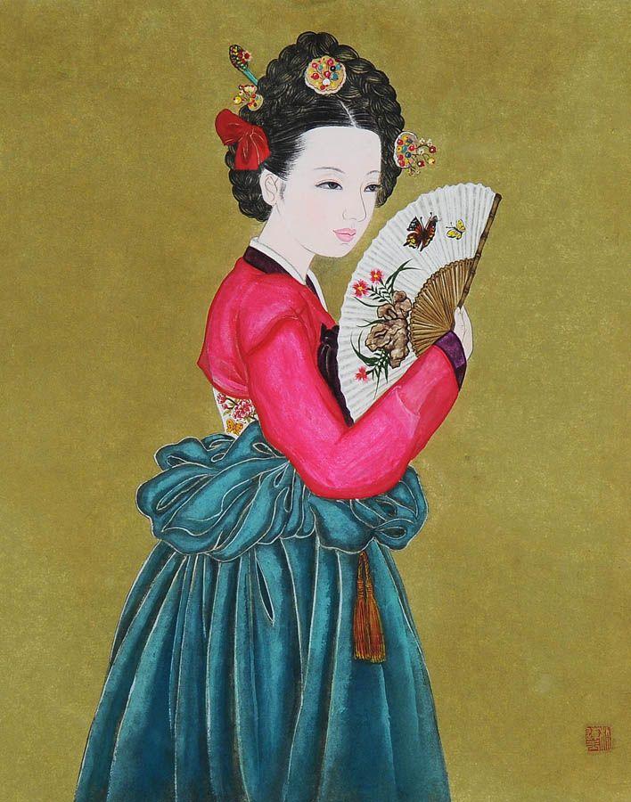 Korean elegance woman by Bak Yeun-ok     한국 전통미인도( 화가  - 박연옥)