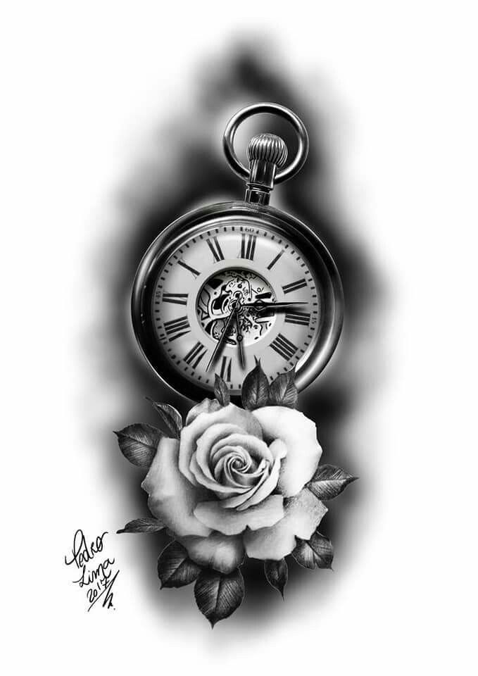 Tattoo clock tattoo tattoo drawings clock tattoo for Tattoo bussola significato