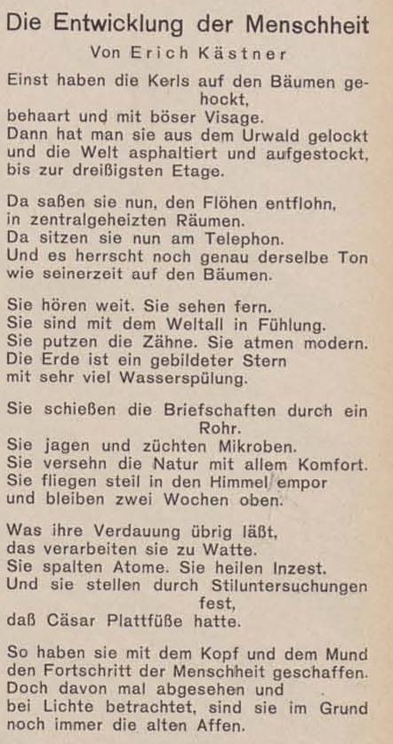 Erich Kästner   Die Entwicklung der Menschheit   10.11.1930