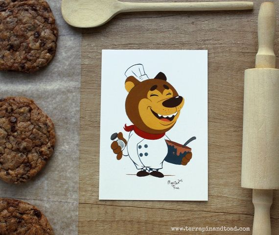 A fun, brightly coloured cartoon bear postcard. Send to your foodie friends.