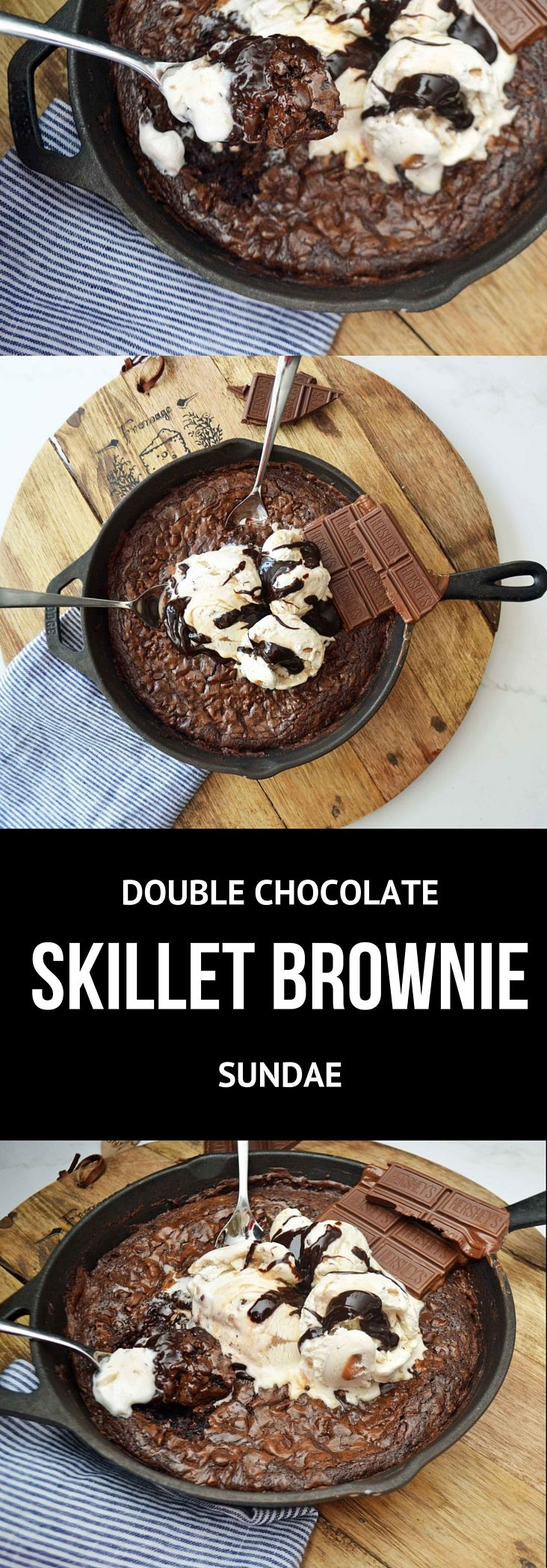 Rich, decadent double chocolate brownie baked in a cast iron skillet, topped with salted caramel ice cream, drizzled with hot fudge, and garnished with chunks of chocolate. The perfect dessert for chocolate lovers! (double chocolate mousse recipe)