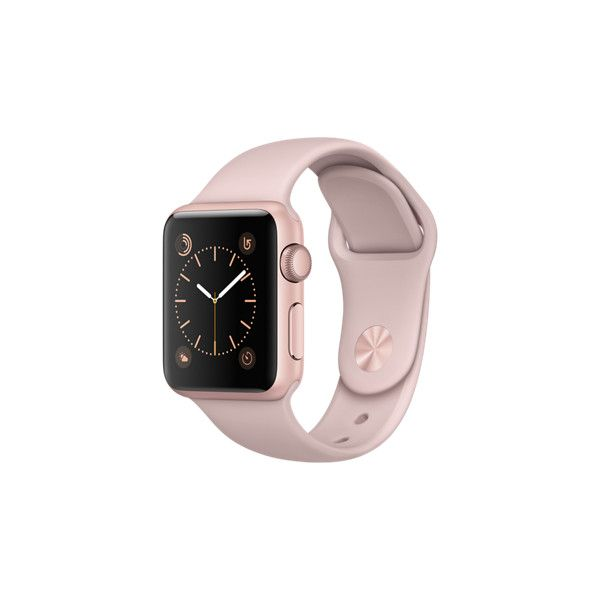 Apple Watch Rose Gold Aluminum Case with Pink Sand Sport Band (930 BRL) ❤ liked on Polyvore featuring jewelry, watches, apple, pink watches, rose gold wrist watch, rose gold jewelry, pink gold watches and sports jewelry