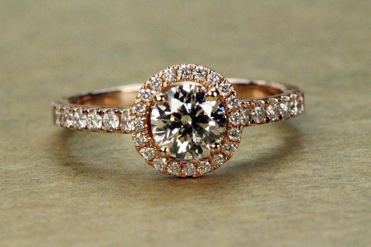 Rose Gold Halo Engagement Ring - Hearts on Fire Diamond AGS Ideal Cut - Petra Gems