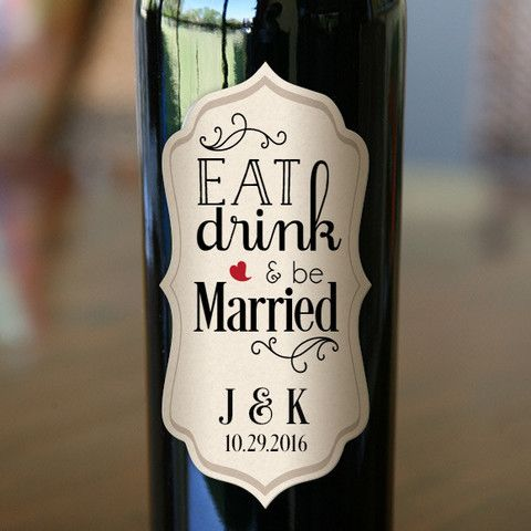 """Wedding wine bottle labels size 2.5"""" x 5"""" (set of 24 labels) """"Eat, Drink and be Married""""message with personalized first name initials and event date, as shown on the picture. LABEL COLORS: Pastel yell"""
