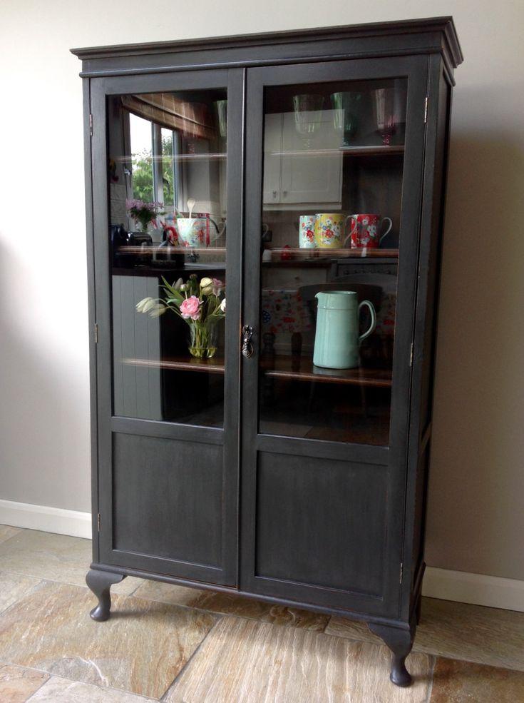 *NOW SOLD* Antique Vintage Glazed Display Cabinet Bookcase Dresser Painted Black Cupboard Annie Sloan Graphite by…