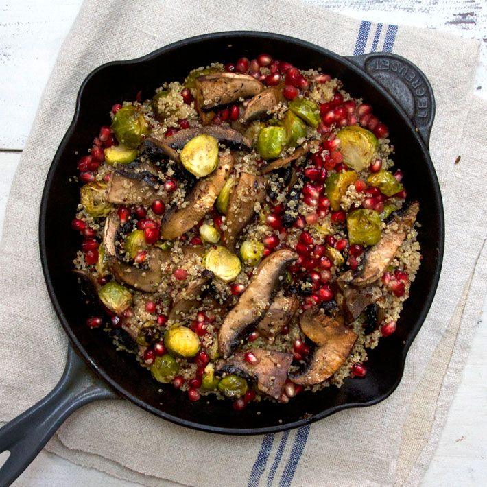 Roasted Brussel Sprout Quinoa with Portobello Mushrooms and Pomegranates