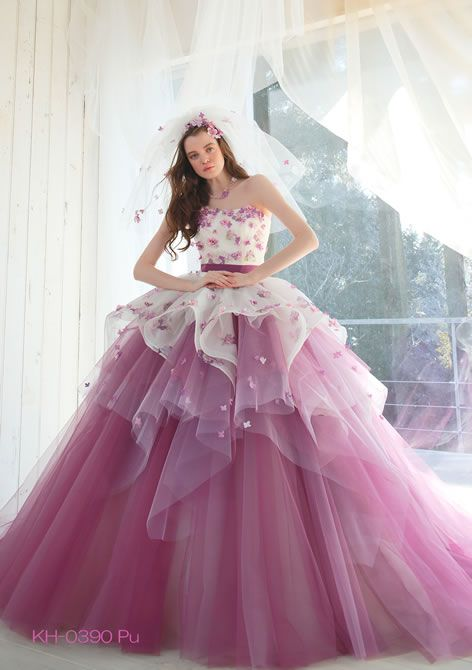 White pink fuchsia ball gown