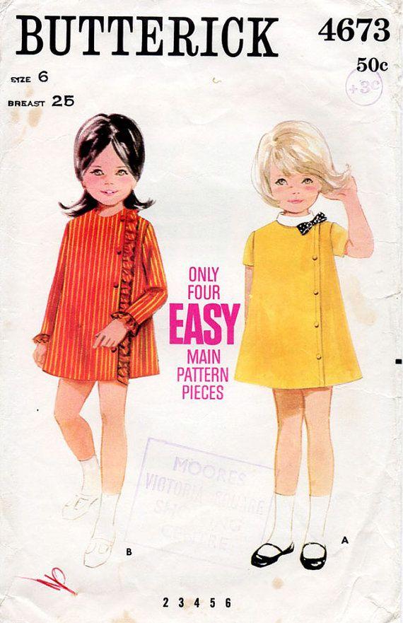 1960s Girl's Dress Pattern Butterick 4673 by BessieAndMaive