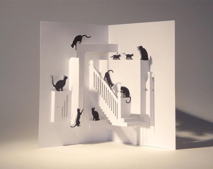 Кошка шаблон объемной открытки