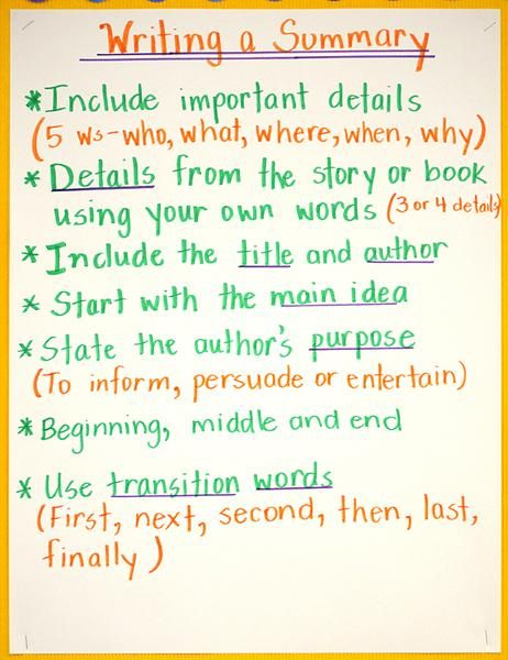 how to write a summary for 5th graders