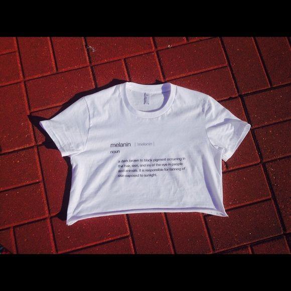 "Melanin definition crop Melanin crop tee from my own line of shirts called ""shadesoftheuniverse"" Shadesoftheuniverse Tops"