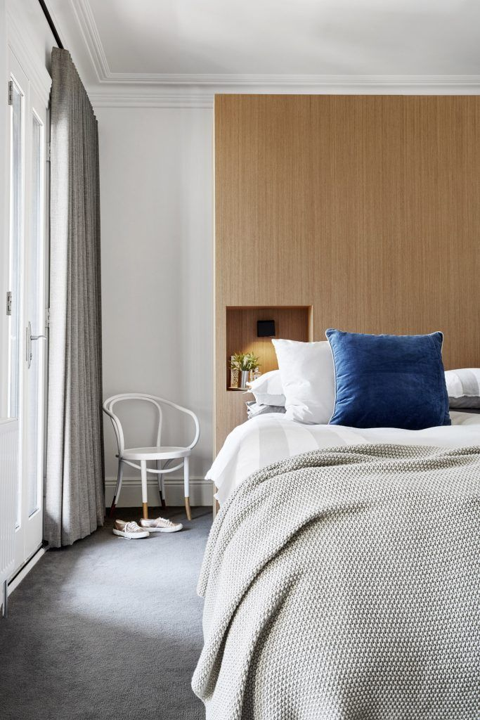 frame terrace.....main bedroom with walk-around timber veneer robe and reading nooks....  photo by mish edstein
