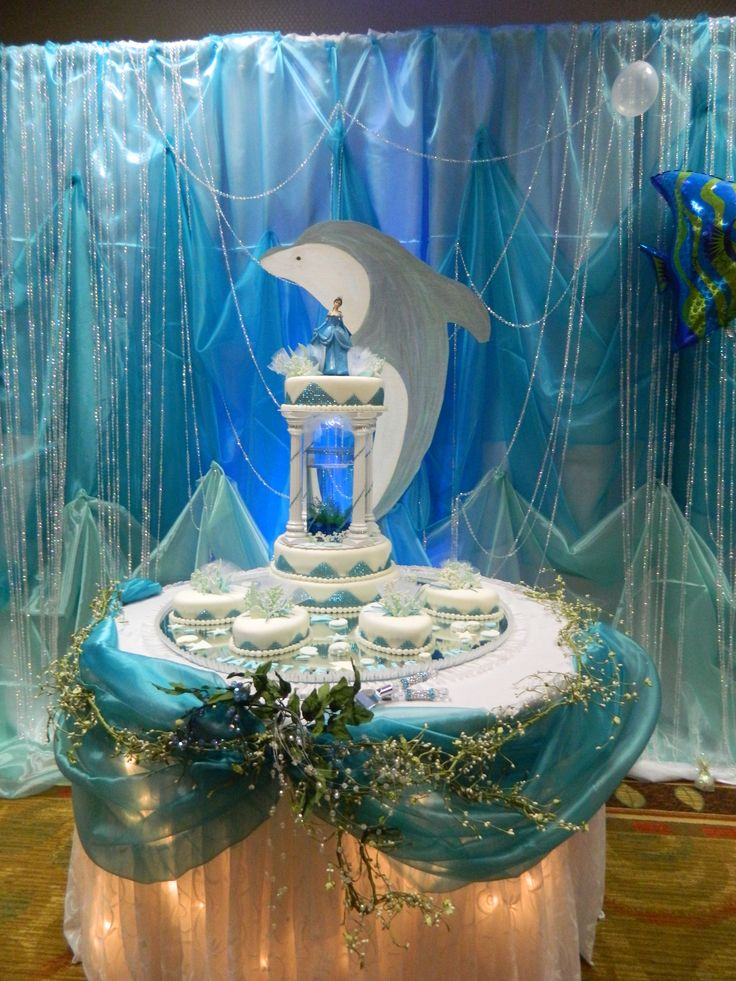 Under The Sea Theme cake table backdrop by Amazing Celebrations