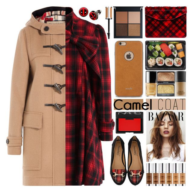 """Wear a Camel Coat!"" by barbarela11 ❤ liked on Polyvore featuring Chicwish, Timeless, Moshi, Burberry, Jas M.B., NARS Cosmetics, Marvel and Givenchy"