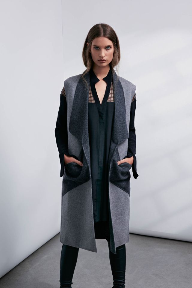 OnceWas: Collectible sleeveless wool coat, Wicker sheer yoke silk shirt and Fortune quilted stretch leather pant.
