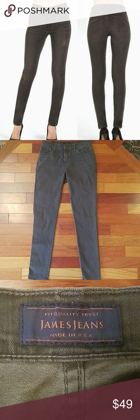 """James Jeans Twiggy Skinny Jeans James Jeans Twiggy Skinny Jeans in Kenwood wash.  Size 28.  Gray wash skinny jeans that will be so versatile in your wardrobe! 91.5% cotton, 6% polyester, 2.5% spandex. 14.75"""" across the waist.  9.5"""" rise.  31"""" inseam. James Jeans Jeans Skinny"""