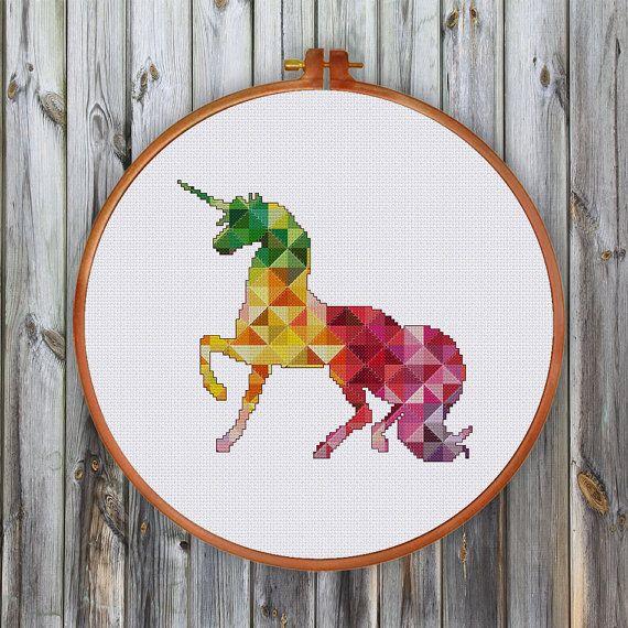 Geometric Unicorn cross stitch pattern Modern baby von ThuHaDesign