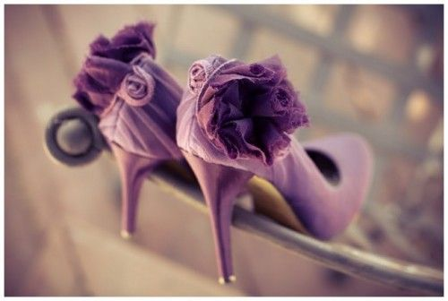 Purple Flower Back Bridal Wedding Shoes