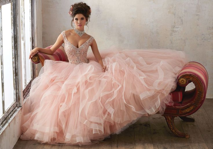 Flounced V-Neck Quinceanera Dress By Mori Lee Vizcaya