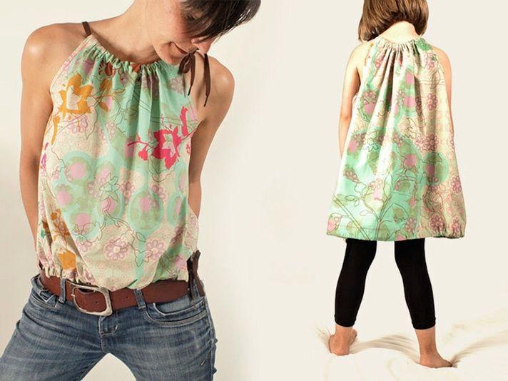 Zwei-in-eins: In dieser DIY-Anleitung zeigt Dir chamue* wie man gleichzeitig ein Damentop und ein supersüßes Kinderkleid nähe kann.