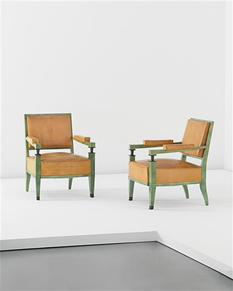 JACQUES QUINET  Pair of armchairs,1948  Painted wood, metal, leather (2).  Each: 84 x 65 x 63 cm (33 1/8 x 25 5/8 x 24 3/4 in)