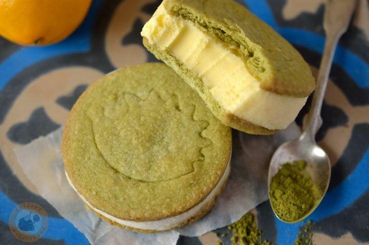 Ice cream sandwiches: Meyer lemon ice cream & matcha shortbread