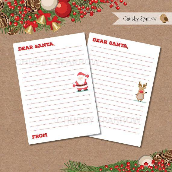 Dear Santa Father Christmas Letter  Digital file  by ChubbySparrow