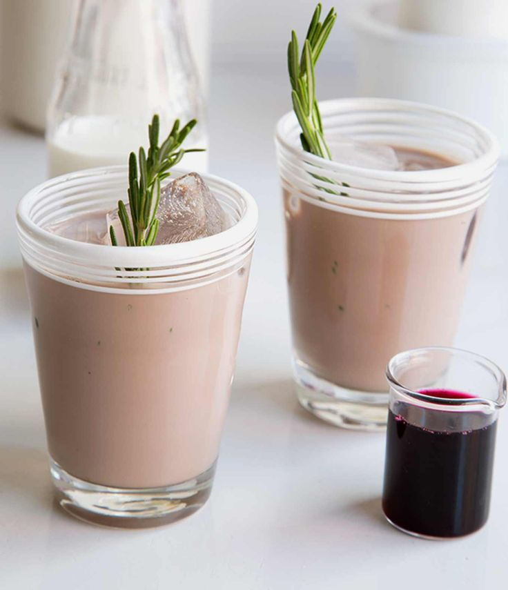 Blueberry Iced Coffee with Rosemary using @organicvalley Half & Half