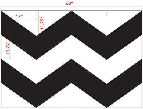 chevron template with measurements...using tape to make a chevron pattern was much more difficult than I expected