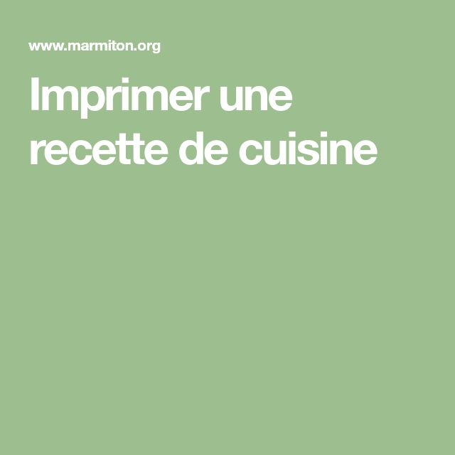 Imprimer une recette de cuisine