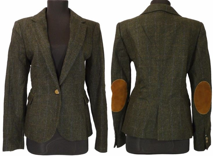 Zara Womens Jacket Size-L Lambswool Tweed Elbow Patches One button  Blazer