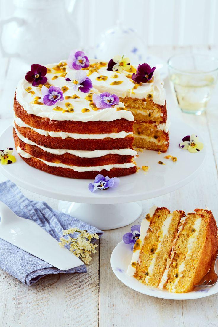 Elderflower, Orange, and passion fruit cake