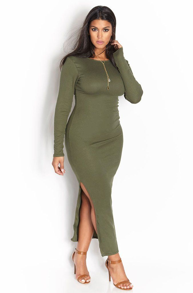"Rebdolls ""Can't Stop It"" Ribbed Side Slit Maxi Dress - Olive"