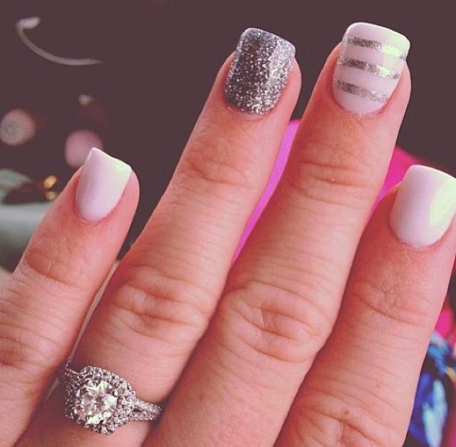 .White and silver sparkles:)