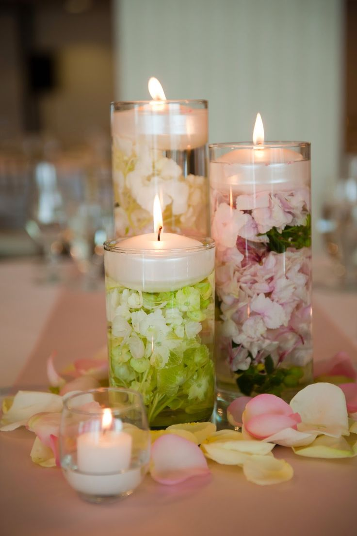 flowers under candles