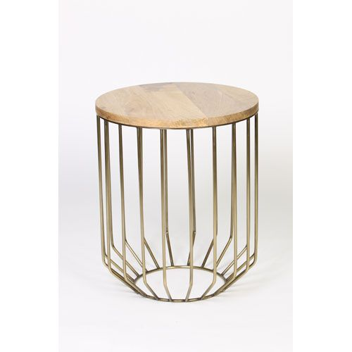 Antique Brass Wire Frame Accent Table with Tapered Base