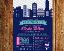 Invitation de Bachelorette week-end de NYC, New York City Birthday Party week-end, fichier imprimable personnalisé