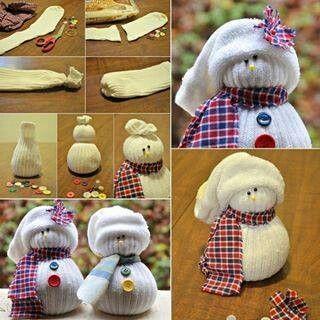 Sneeuwpop gemaakt van een sok