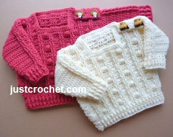 Free Crochet Pattern Popcorn Sweater US and UK Formats are available :) Size 3-6 months