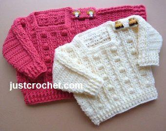 Free baby crochet pattern for popcorn sweater Free baby crochet pattern for popcorn sweater http://www.justcrochet.com/popcorn-sweater-usa.html #justcrochet #crochet #freebabycrochetpatterns