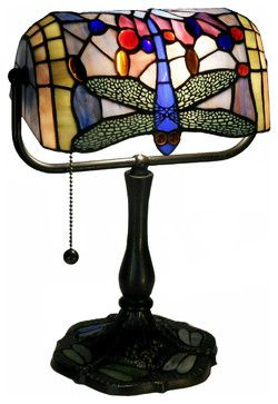 Indoor 1-light Dragonfly Bronze Banker Desk Lamp - traditional - Desk Lamps - Warehouse of Tiffany, Inc