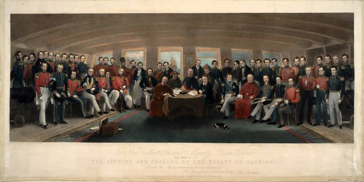 """The Signing and Sealing of the Treaty of Nanking in the State Cabin of H.M.S. Cornwallis, 29th August, 1842"", Painted by Capt. John Platt #Treaty_of_Nanking"