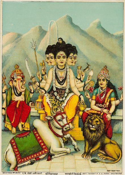 पंचमुखी भगवान शंकर, वाहन बैल, कैलाश पर्वत पर संग पार्वती वाहन सिंह और पुत्र गणेश. Om Namah Shivaya.