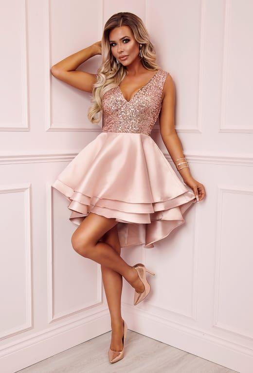 60d8f26b2648 Heart Broken Rose Gold Sequin Multi Layer Skater Dress - 12 | Want ...