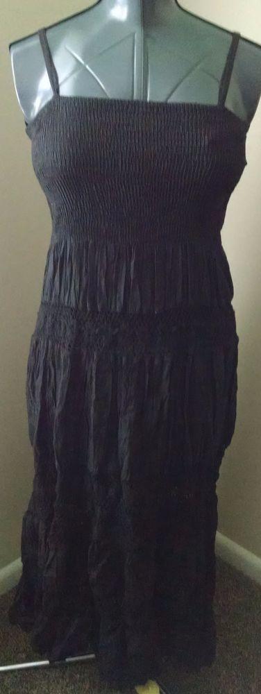 OCEAN BREEZE Women's Peasant Dress Size M Solid Black Spaghetti Strap Stretch #OceanBreeze #Peasant #Casual $6.00 + $4.30 s+h