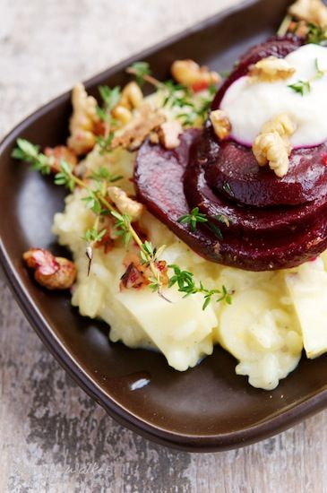 Parsnip risotto with beetroot and walnuts
