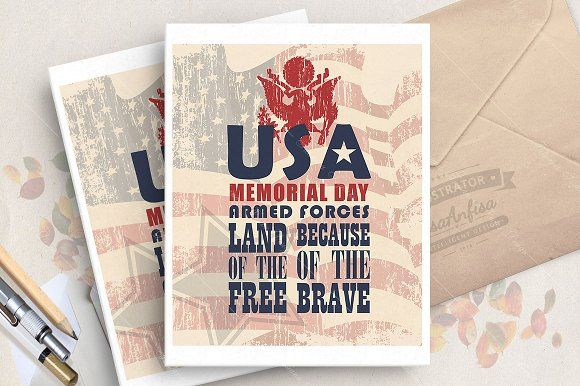 Memorial day greeting card Graphics You will get:1 EPS10 file. You can easily change color and size for these vector elements without by LisaAnfisa Design Studio