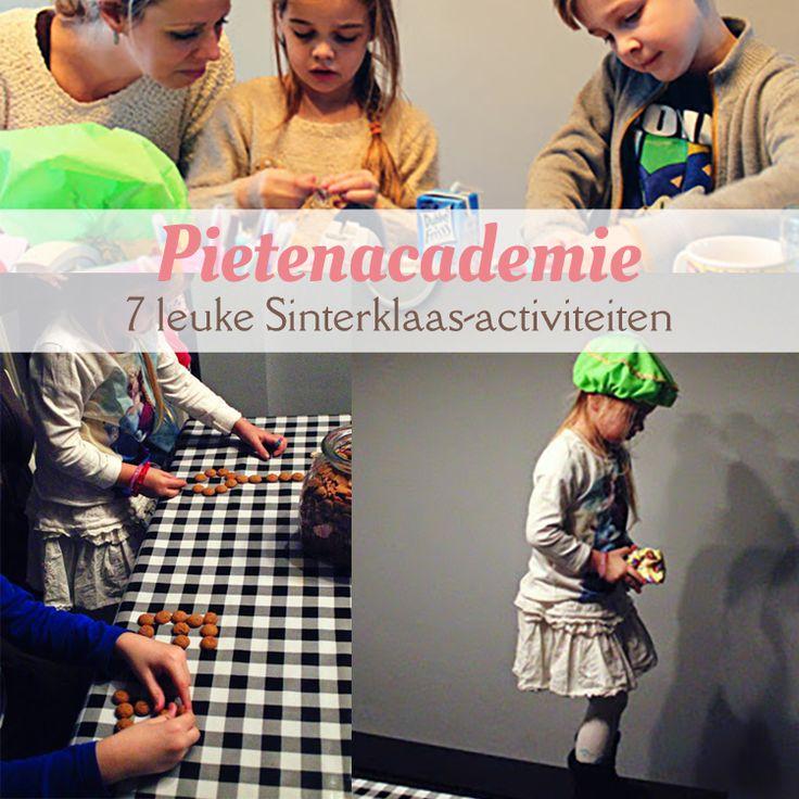 7 leuke Sinterklaas-activiteiten; de Pietenacademie: - Pietenmutsen knutselen - Sinterklaasliedjes raden - Cadeautjes inpakken - Op het dak lopen oefenen - Precisie strooien - Pepernoten bakken - Pietenquiz